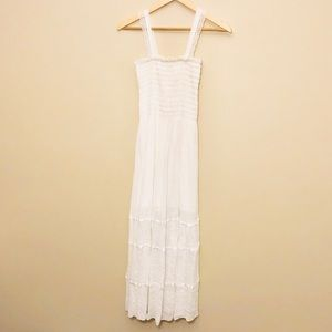 White Smocked Top Lace Strap Maxi Dress